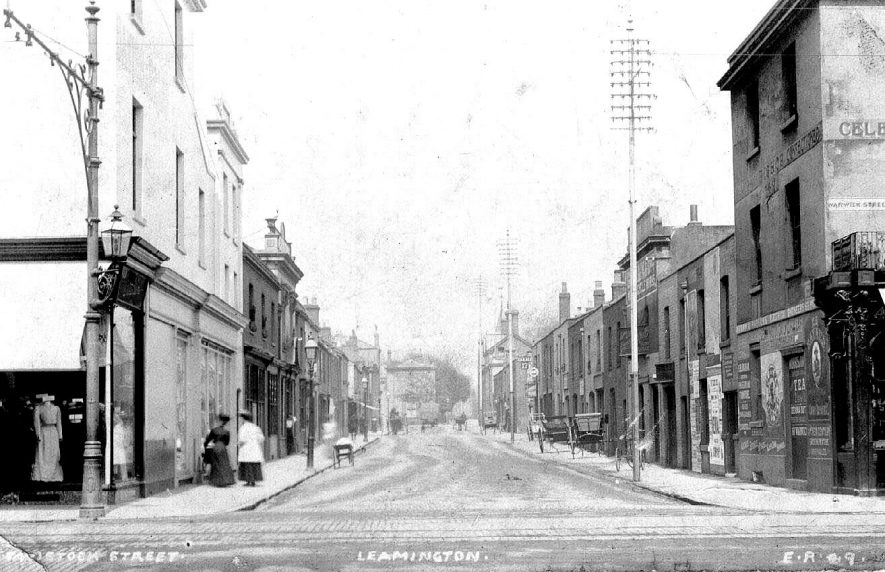 Shops and Buildings in Tavistock Street.  1900s    IMAGE LOCATION: (Warwickshire County Record Office)