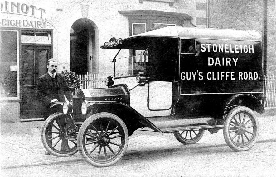 Stoneleigh Dairy delivery van and man outside dairy in Guy's Cliffe Road.  1900s |  IMAGE LOCATION: (Warwickshire County Record Office)