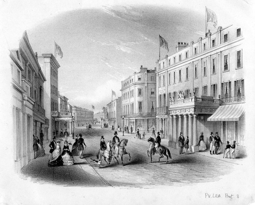 Lithograph of Bath Street, Leamington Spa.  1830