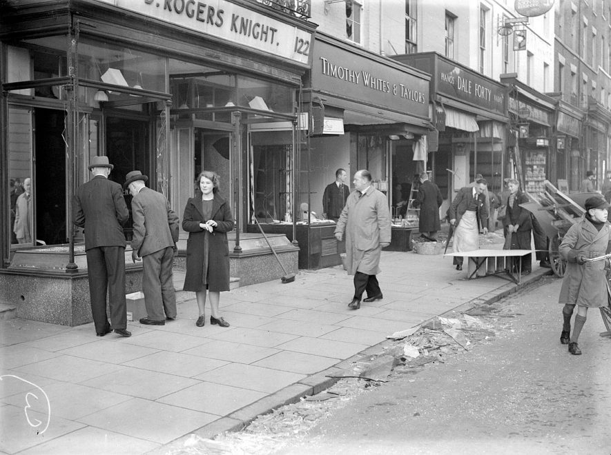 Bomb damaged shops in The Parade, Leamington Spa.  1940 |  IMAGE LOCATION: (Warwickshire County Record Office)