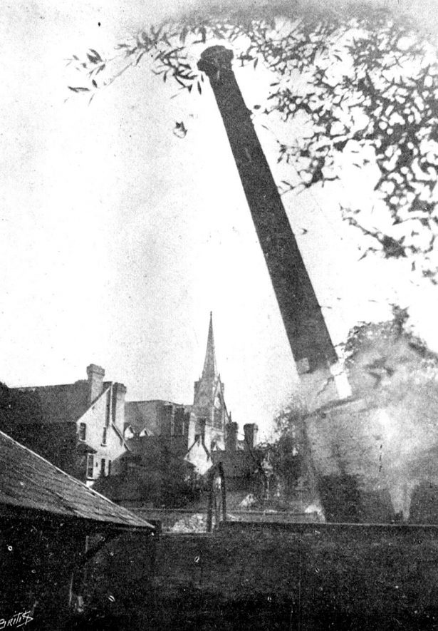 Demolition of the mill chimney. June 29th 1889. |  IMAGE LOCATION: (Warwickshire County Record Office)
