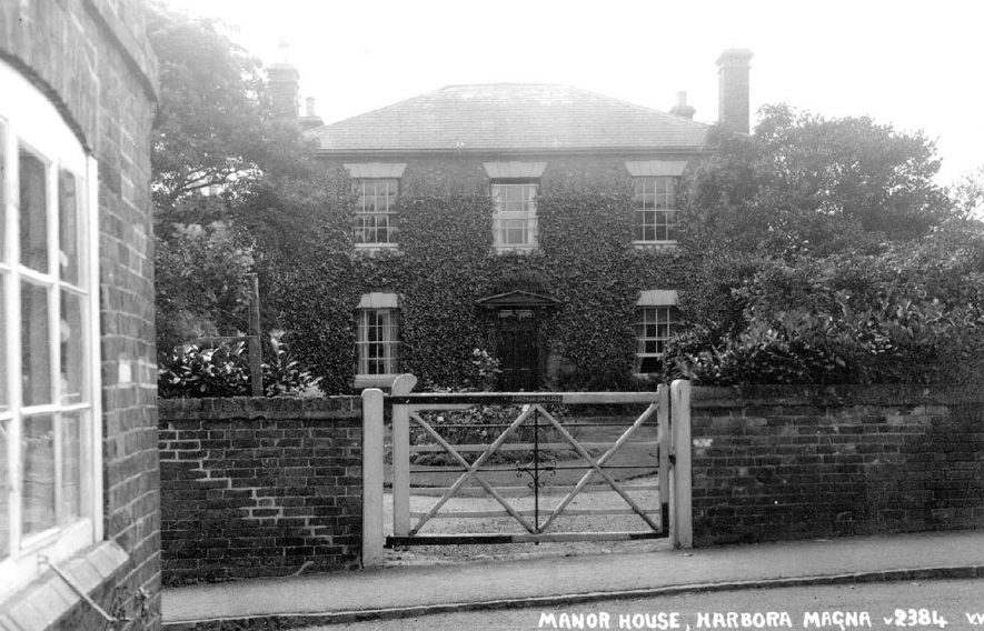 View of the front of the Manor House, Harborough Magna.  1950 |  IMAGE LOCATION: (Warwickshire County Record Office)