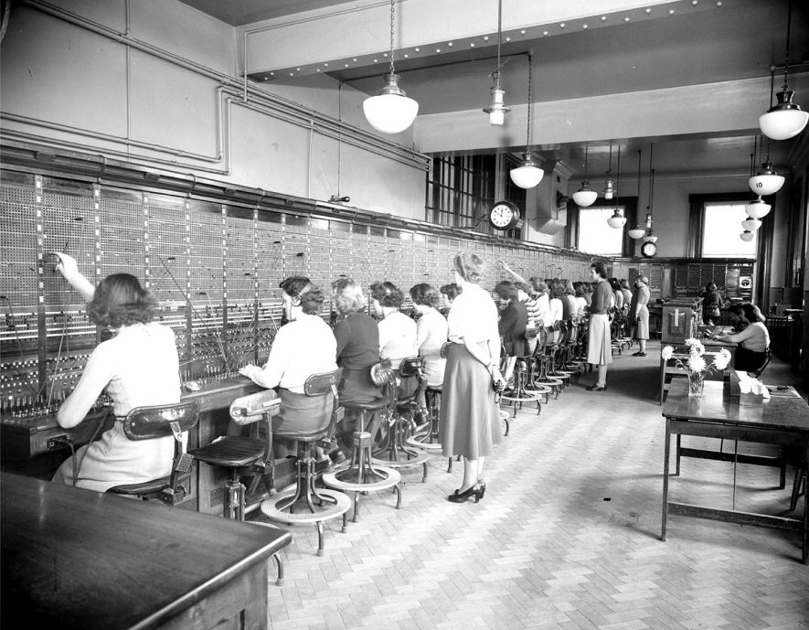 Interior of Leamington Telephone Exchange during working hours.  November 28th 1949 |  IMAGE LOCATION: (Warwickshire County Record Office)