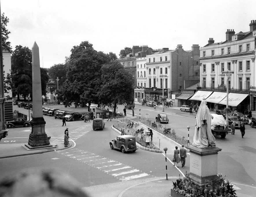 The Town Hall traffic island at The Parade/Regent Grove, Leamington. Photographed  from the Town Hall.  August 19th 1950 |  IMAGE LOCATION: (Warwickshire County Record Office)