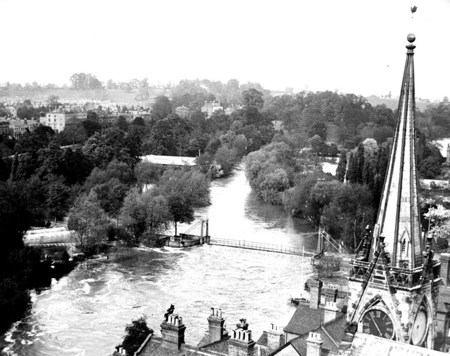 Leamington floods, view from Parish Church tower including suspension bridge.  May 1932 |  IMAGE LOCATION: (Warwickshire County Record Office)