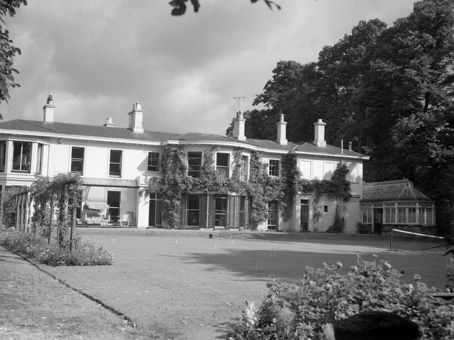 The Grange, Holly Walk, Leamington Spa.  Rear of house and garden, the lawn laid out for croquet.  1950 |  IMAGE LOCATION: (Warwickshire County Record Office)
