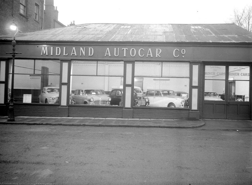 Midland Autocar Showroom, Russell Street, Leamington Spa.  1958 |  IMAGE LOCATION: (Warwickshire County Record Office)