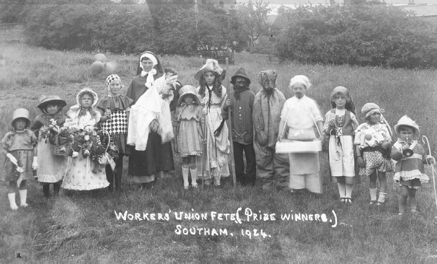 Workers' Union fete, prize winners; group of children in fancy dress.  1924 |  IMAGE LOCATION: (Warwickshire County Record Office)