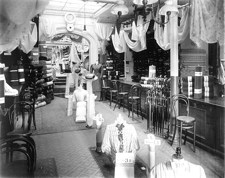 Millinery and drapery department of E. Francis & Sons shop in Bath Street, Leamington Spa.  1920s |  IMAGE LOCATION: (Warwickshire Museums. Photographic Collections.)