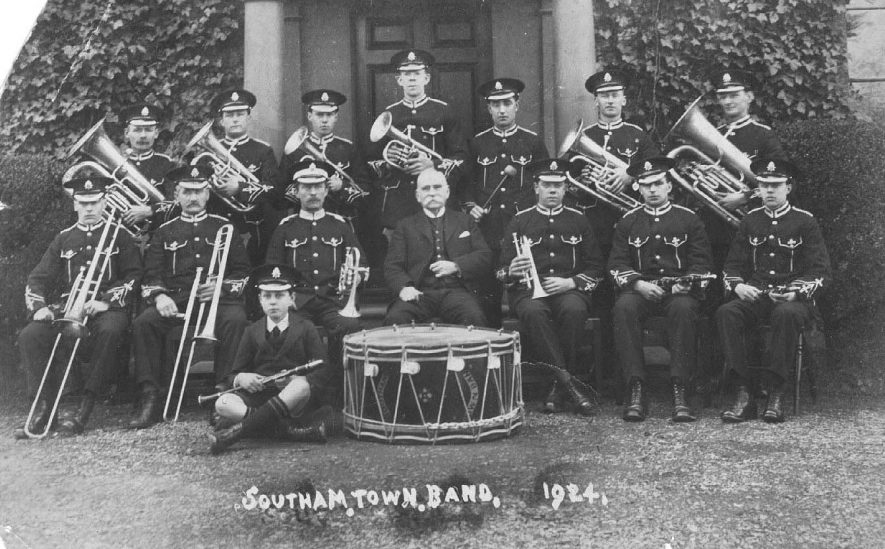 Southam Town Band 1924; bandsmen in uniform with instruments.  1924 |  IMAGE LOCATION: (Warwickshire County Record Office)