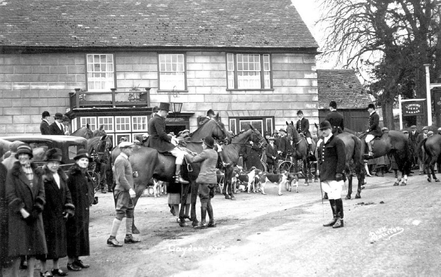 Meeting of the hunt outside The Gaydon Inn.  1920s |  IMAGE LOCATION: (Warwickshire County Record Office)