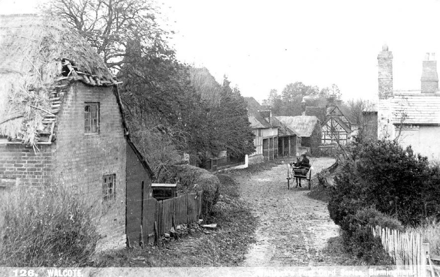 Walcote village scene with carriage in background.  1900s |  IMAGE LOCATION: (Warwickshire County Record Office)