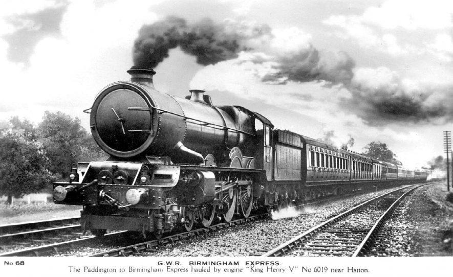 Paddington to Birmingham Express drawn by engine