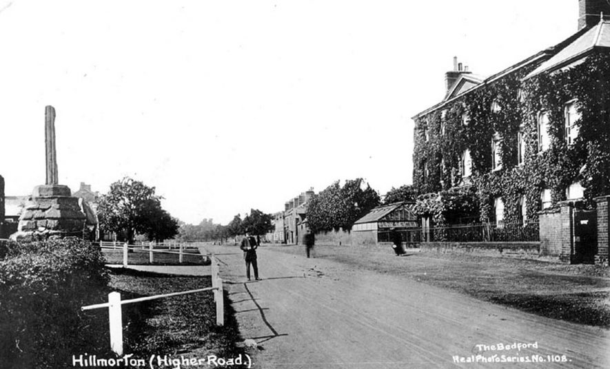 Large house and old cross ? market cross, in Higher Street, Hillmorton. The large house was called 'The Croft' and was demolished about 30years ago. 1910s |  IMAGE LOCATION: (Warwickshire County Record Office)