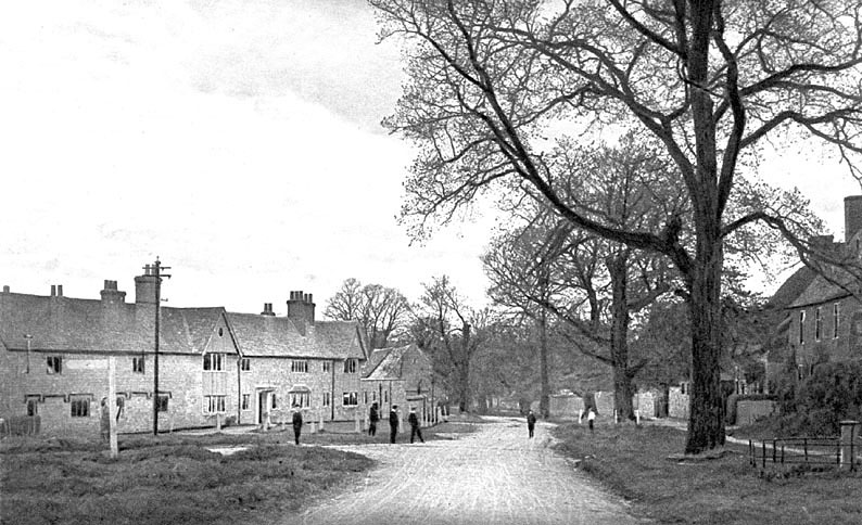View of street with houses and boys, Honington.  1900s |  IMAGE LOCATION: (Warwickshire County Record Office)