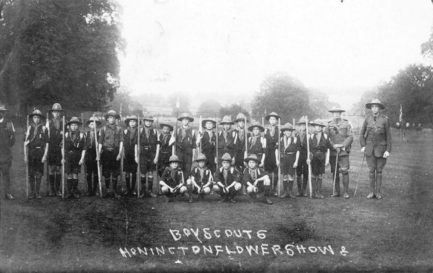 Honington Flower Show. Boy Scouts posing in group.  1910s |  IMAGE LOCATION: (Warwickshire County Record Office)