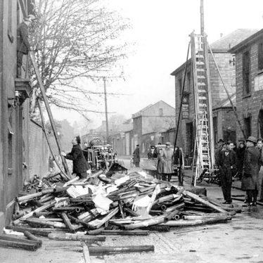 Leamington Spa.  Scene after glove factory fire