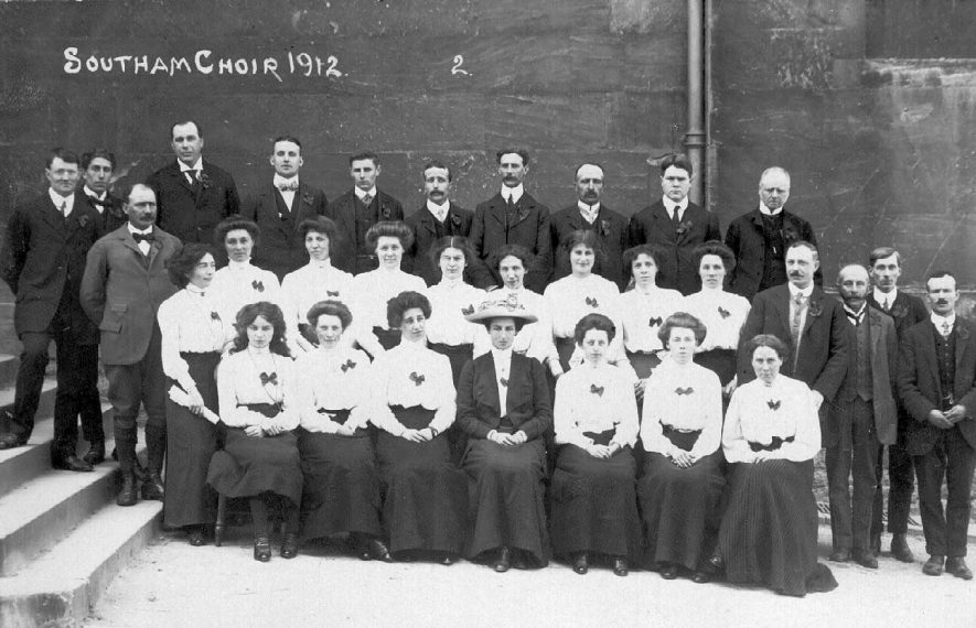 Southam choir in 1912. N.B. Since including this picture on Warwickshire Images it has been pointed out that this choir is not from Southam, Warwickshire, but from Southam, nr Cheltenham. It has been decided to leave it on file for the time being.  1912 |  IMAGE LOCATION: (Warwickshire County Record Office)