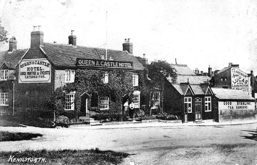 The Queen and Castle Hotel and the side of the Clarendon Arms, Kenilworth.  1910s |  IMAGE LOCATION: (Warwickshire County Record Office)