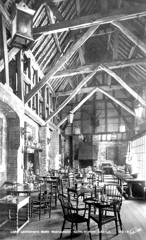 Kenilworth Castle.  Interior of Leycester's Barn Restaurant.  1930s |  IMAGE LOCATION: (Warwickshire County Record Office)