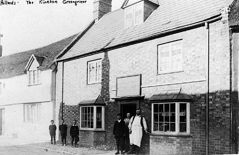 G. Pollard, the greengrocer in front of his shop, Kineton.  1900s |  IMAGE LOCATION: (Warwickshire County Record Office) PEOPLE IN PHOTO: Pollard, G, Pollard as a surname