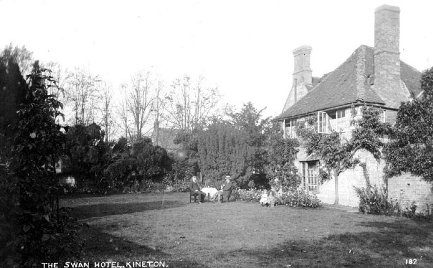 Rear view from the gardens of the Swan Hotel, Kineton.  1910s |  IMAGE LOCATION: (Warwickshire County Record Office)