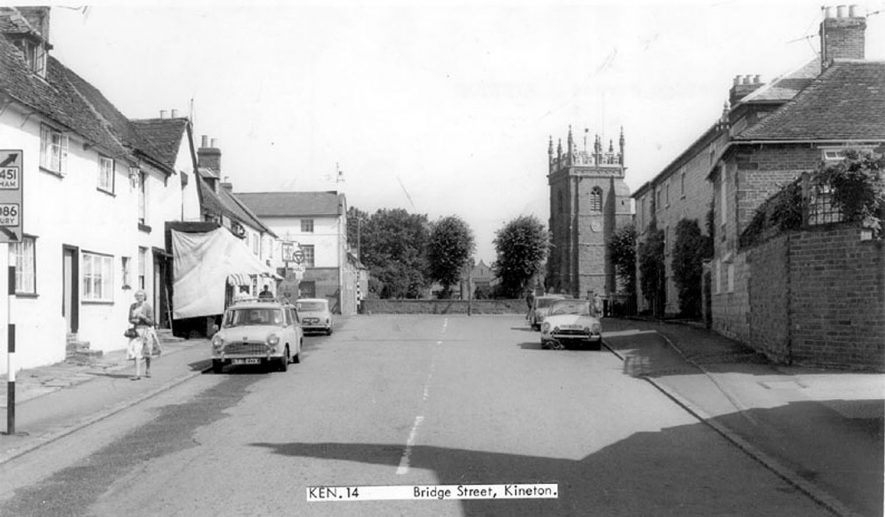Bridge Street, looking north towards the church.  1960s |  IMAGE LOCATION: (Warwickshire County Record Office)