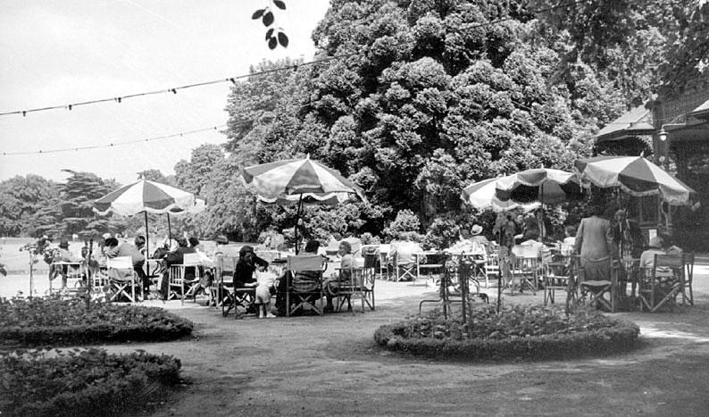 The tea garden in Jephson Gardens, Leamington Spa.  1950s |  IMAGE LOCATION: (Warwickshire County Record Office)