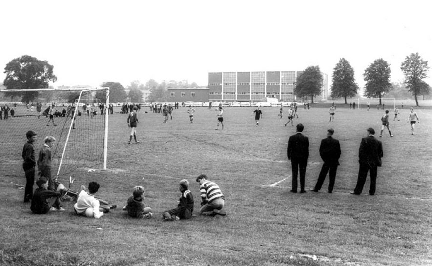 View of a football match on the sports field at Pingles Sports Centre, Nuneaton.  1960s |  IMAGE LOCATION: (Warwickshire County Record Office)