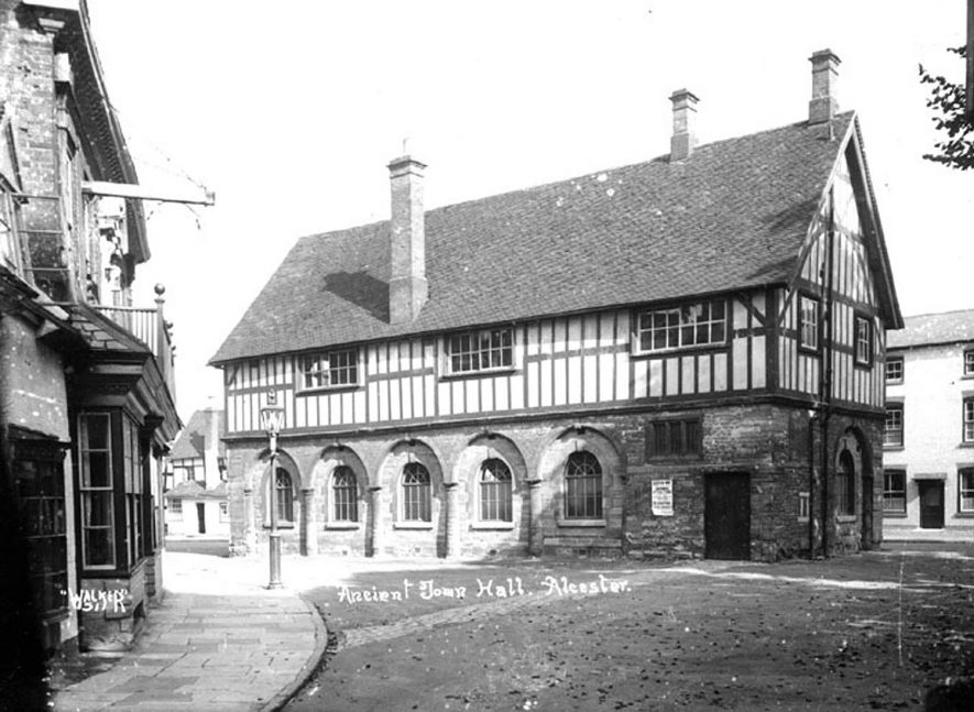 The ancient town hall, Alcester.  1910s |  IMAGE LOCATION: (Warwickshire County Record Office)