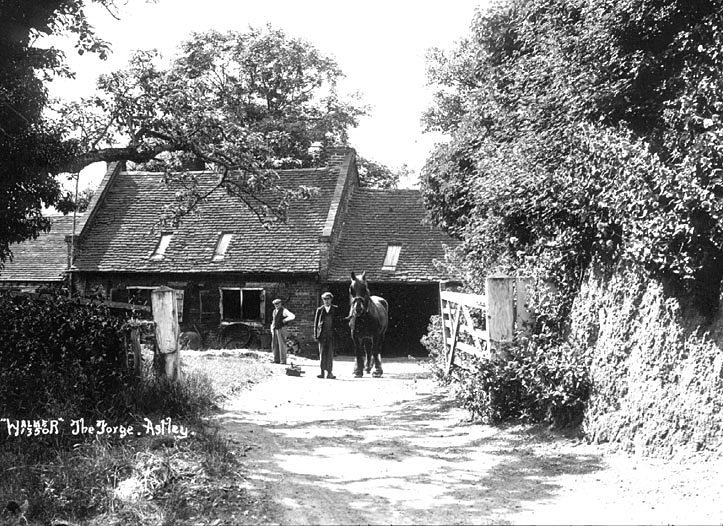 The Forge, Astley.  1920s  [It has been pointed out that this is not the forge at Astley. The wherabouts of this photograph is at present unknown but will be corrected if further information is forthcoming] |  IMAGE LOCATION: (Warwickshire County Record Office)