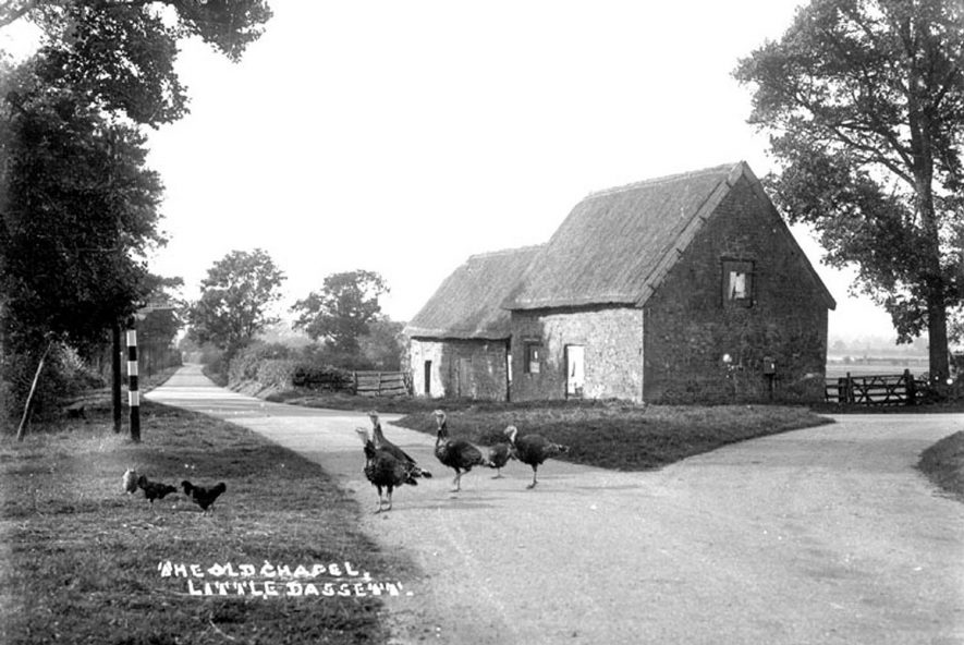 The Old Chapel, stone building, thatched, chickens, turkeys, Northend, Little Dassett.  1930s |  IMAGE LOCATION: (Warwickshire County Record Office)