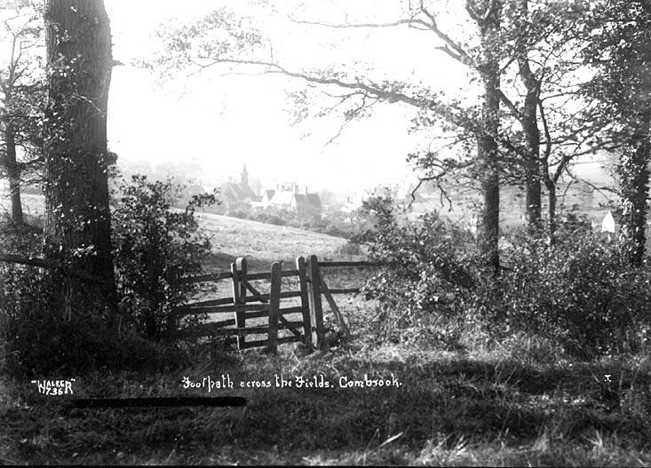 Footpath across the fields to Combrook.  1930s |  IMAGE LOCATION: (Warwickshire County Record Office)