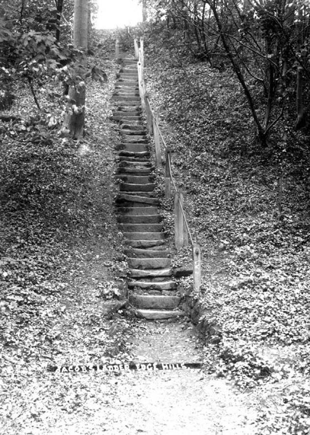 Old stone steps known as Jacob's Ladder. Edgehill.  1930s |  IMAGE LOCATION: (Warwickshire County Record Office)