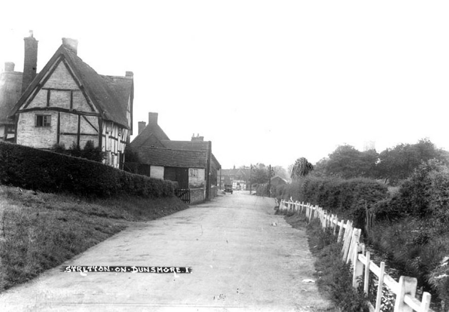 Part of Stretton on Dunsmore, showing thatched and timbered cottage.  1930s    IMAGE LOCATION: (Warwickshire County Record Office)