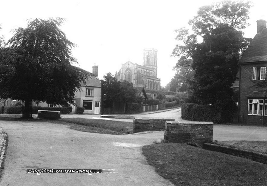 Part of Stretton on Dunsmore, showing church and bridge over brook.  1930s    IMAGE LOCATION: (Warwickshire County Record Office)