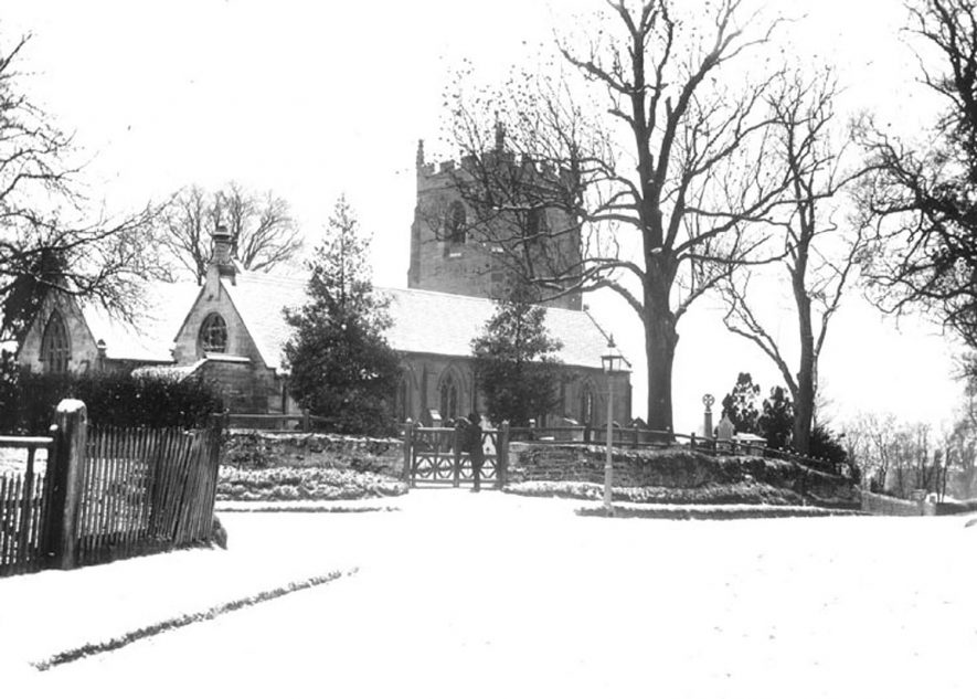 Lillington Parish Church under snow.  1930s [It has been suggested the picture is much older than 1930's because the tower has no clock. Clock was first set going on the 18th August 1897. The makers were Messrs. Potts of Leeds.] |  IMAGE LOCATION: (Warwickshire County Record Office)