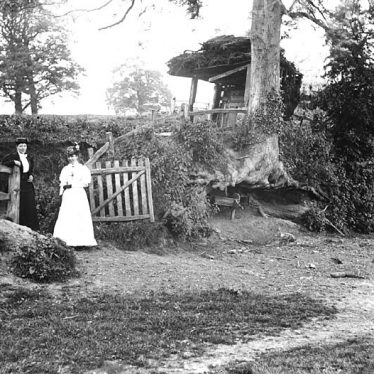 Leek Wootton.  Two ladies by a fence
