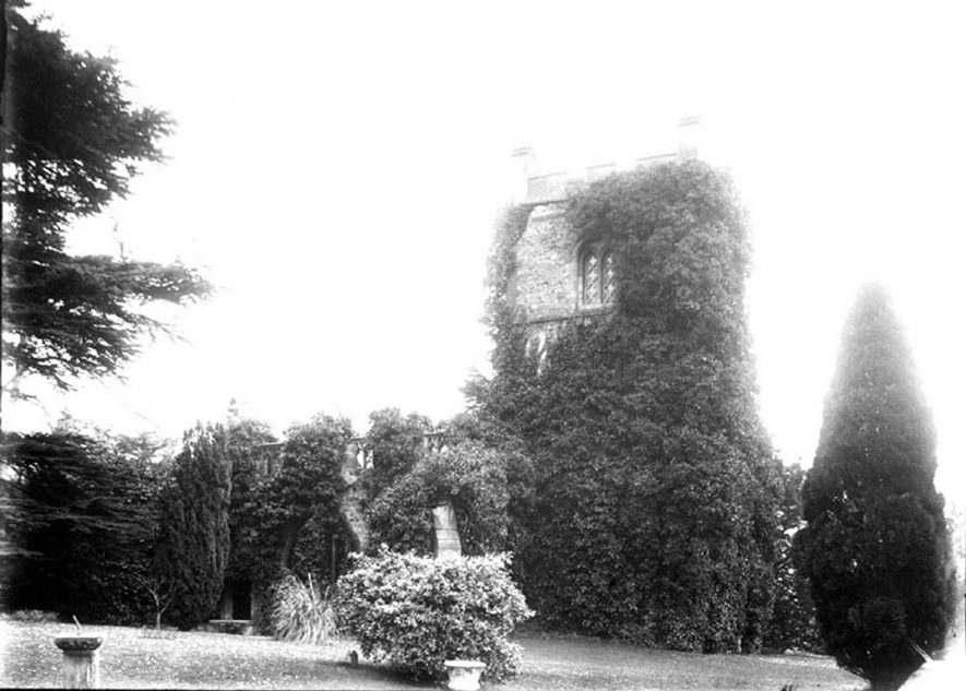 Ettington Old Church. Ivy covered tower.  1900s    IMAGE LOCATION: (Warwickshire County Record Office)