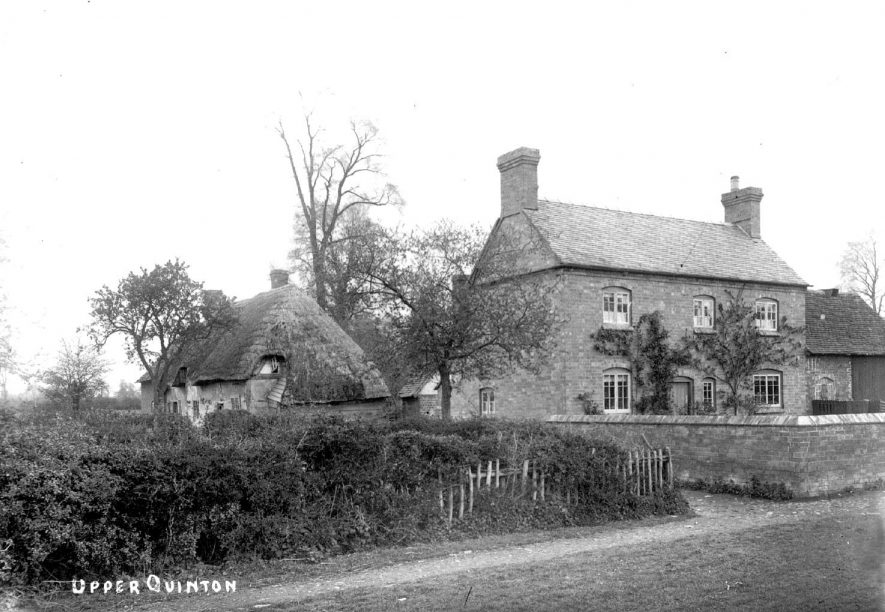 Winton House and thatched cottage in Upper Quinton.  1900s |  IMAGE LOCATION: (Warwickshire County Record Office)