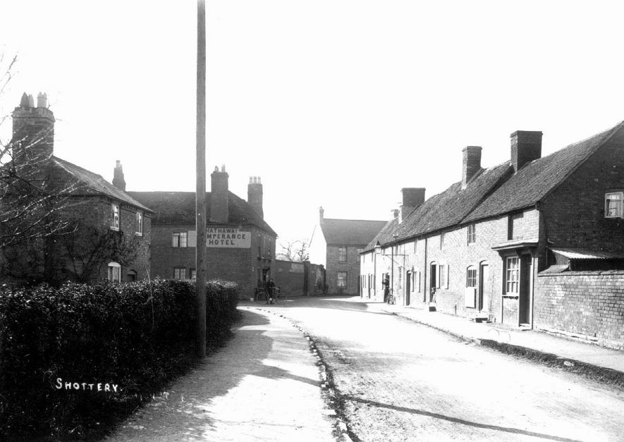 Village street with The Hathaway Temperance Hotel in the background. Shottery.  1910s |  IMAGE LOCATION: (Warwickshire County Record Office)