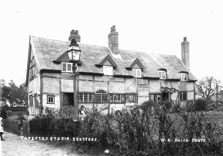 Large timber framed, thatched building known as The Tapestry Studio. Shottery.  1900s |  IMAGE LOCATION: (Warwickshire County Record Office)