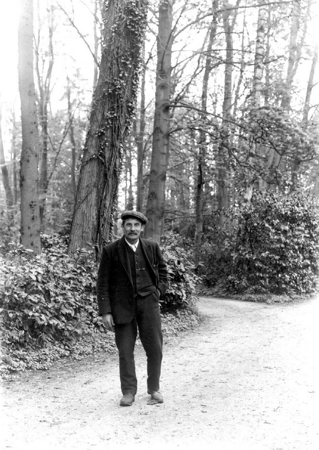 Unidentified man standing on driveway at Barrells Hall, Ullenhall.  1900s |  IMAGE LOCATION: (Warwickshire County Record Office)