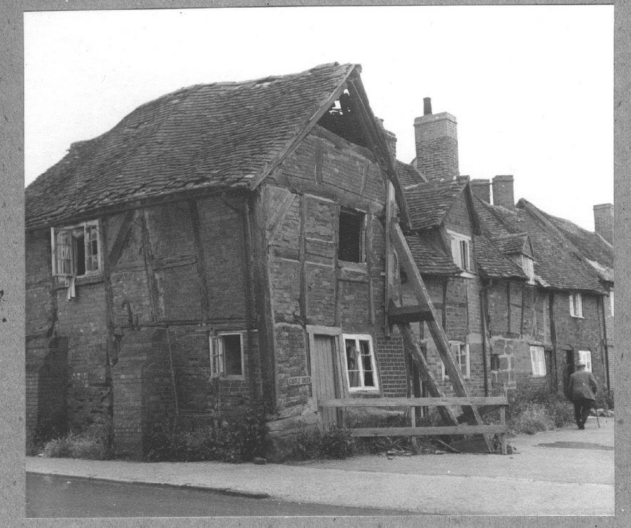 Cottages on Castle Green, Kenilworth, one falling down.  1965 |  IMAGE LOCATION: (Warwickshire County Record Office)