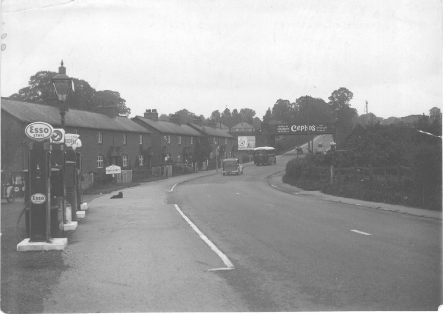Coventry Road at Crackley, Kenilworth, showing railway bridge and filling station.  1935 |  IMAGE LOCATION: (Warwickshire County Record Office)