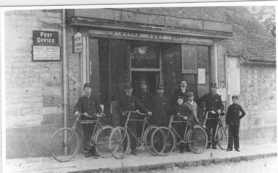 Kineton Post Office with postmen.  1885 |  IMAGE LOCATION: (Warwickshire County Record Office)