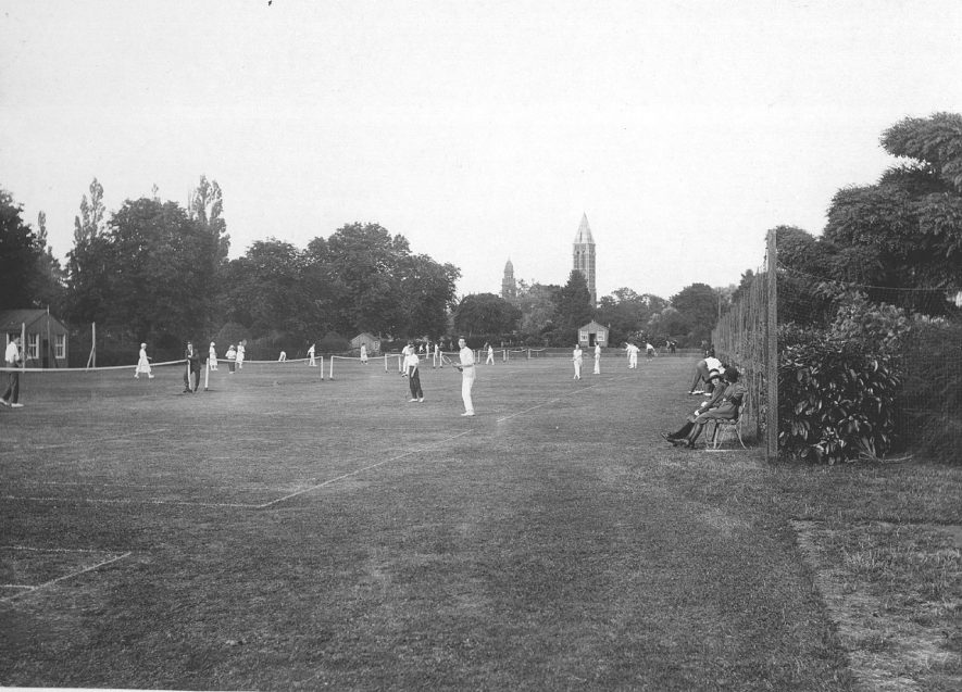 Tennis courts in Victoria Park , Leamington Spa. 1920s |  IMAGE LOCATION: (Warwickshire County Record Office)