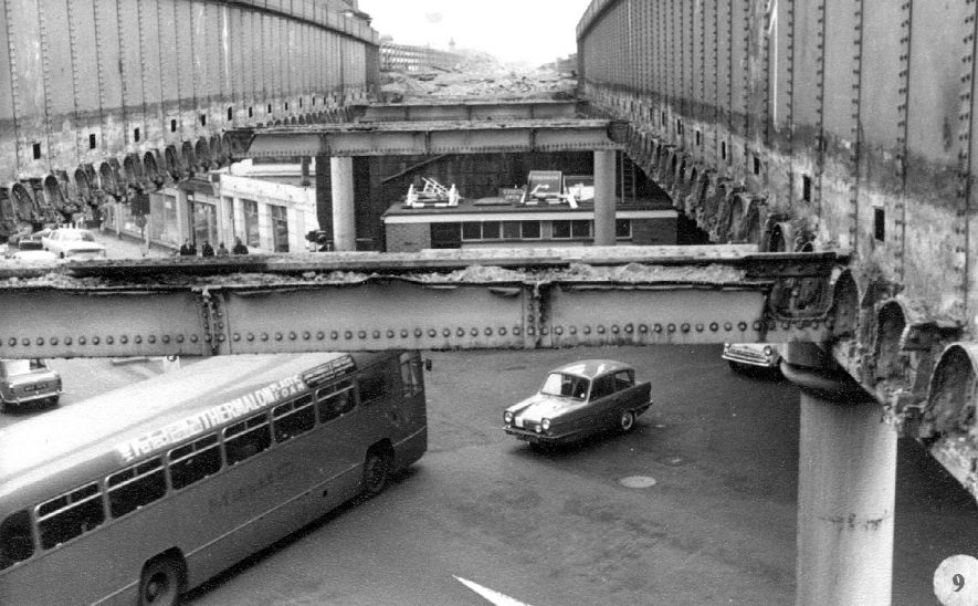 The Bath St/High St railway bridge under demolition, Leamington Spa.  1968 |  IMAGE LOCATION: (Warwickshire County Record Office)