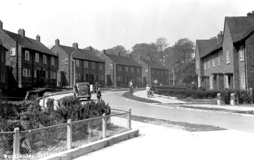 The Woodlands, Hartshill, showing council housing on either side of the road.  1950s