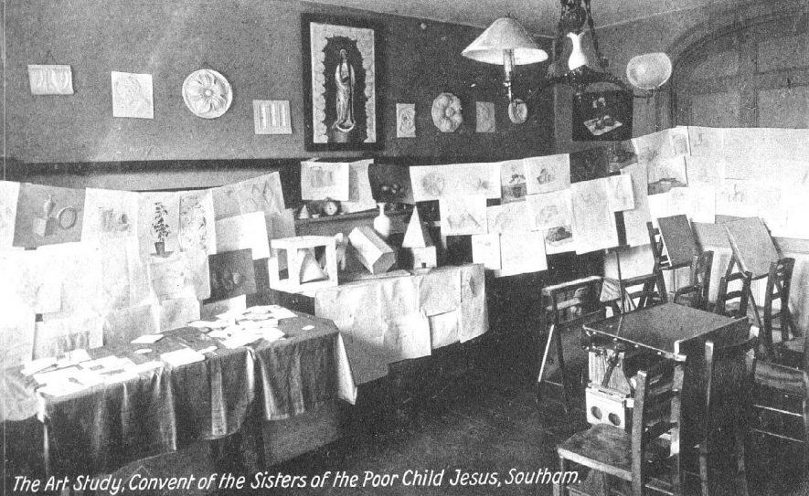 The Art Study, Convent of the Sisters of The Poor Child Jesus, Southam. Examples of pupil's artwork.  Gas Lighting.  1910s |  IMAGE LOCATION: (Warwickshire County Record Office)